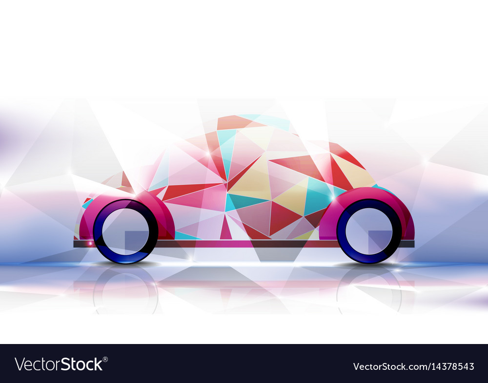 Technological geometric colorful classic car