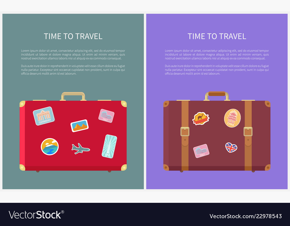 Time to travel poster with luggages set