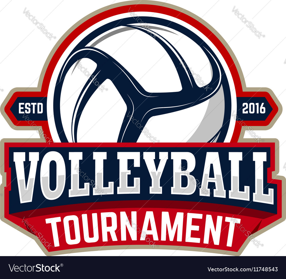 Volleyball tournament Emblem template with