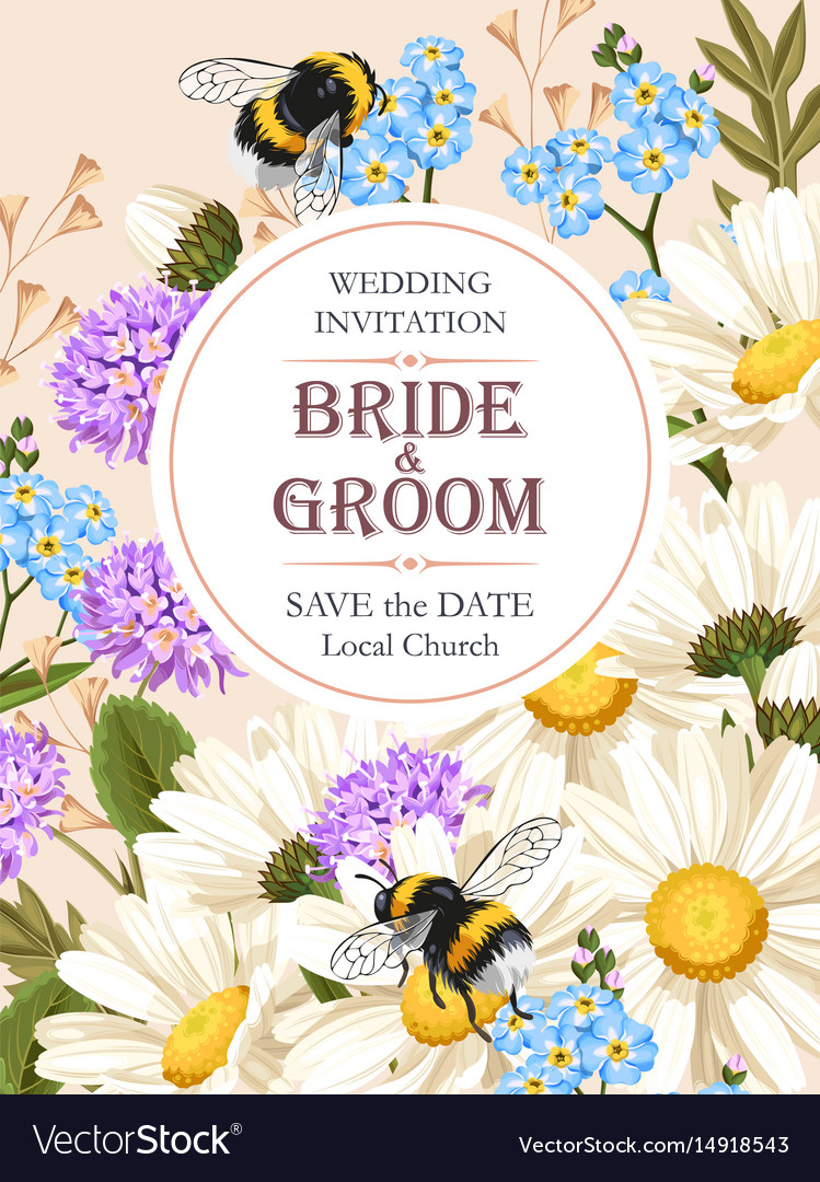 Wedding invitation with meadow flowers Royalty Free Vector