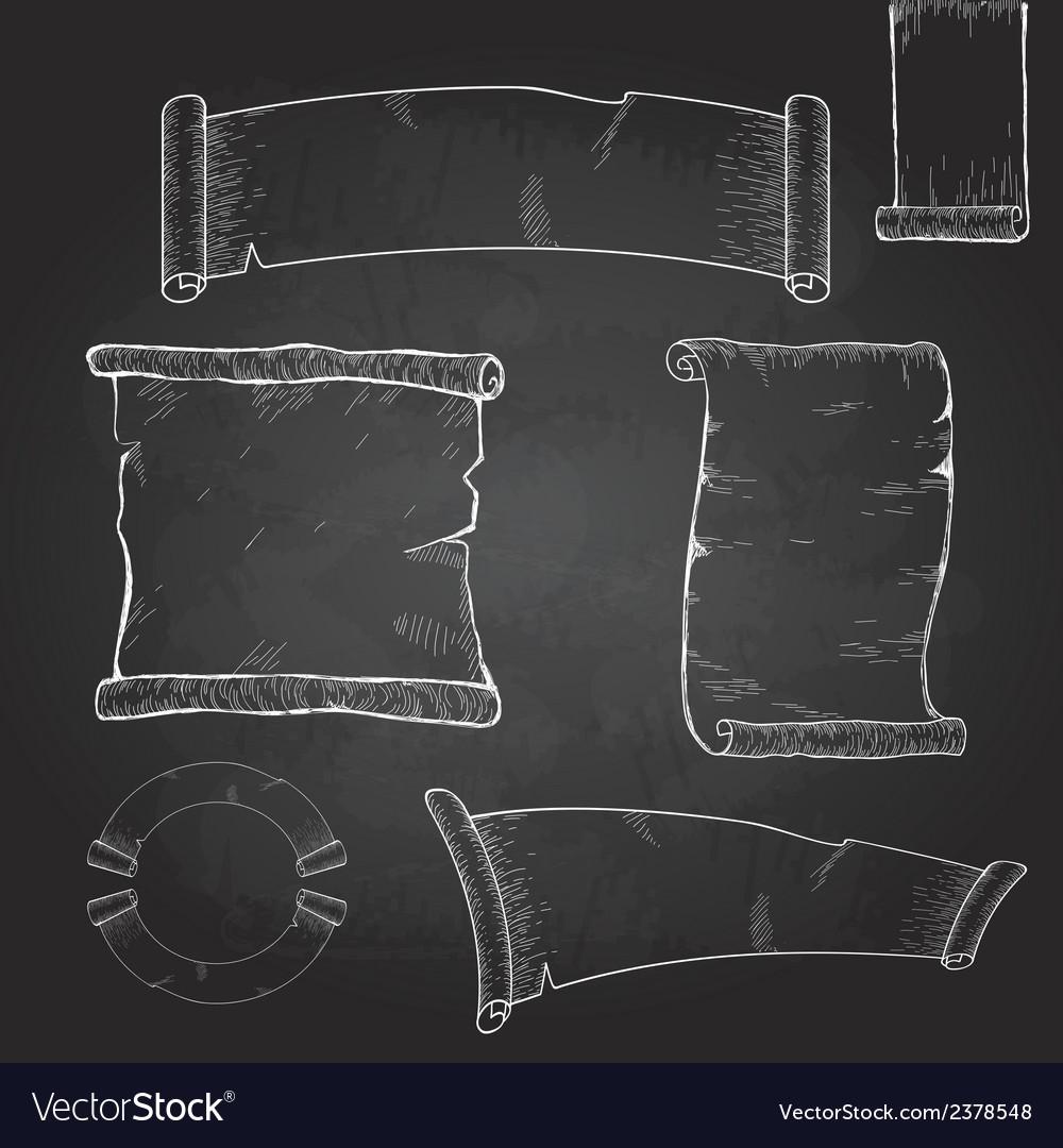 Chalk drawing Set of ribbons