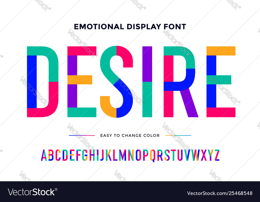 Colorful font colorful condensed alphabet and