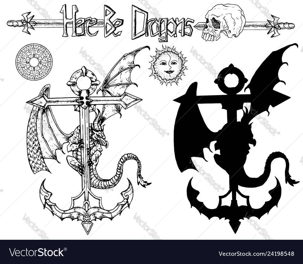 Design set with dragon sitting on anchor