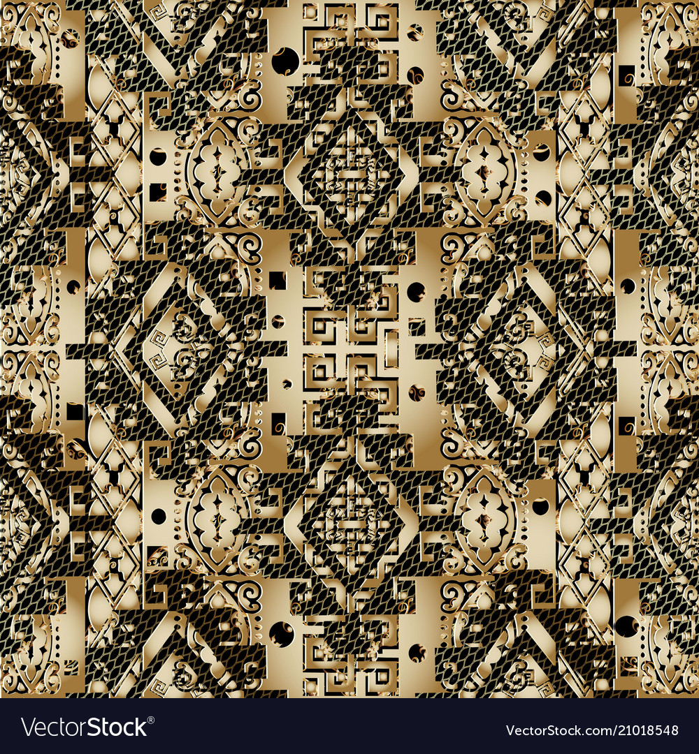 Greek 3d textured seamless pattern gold black