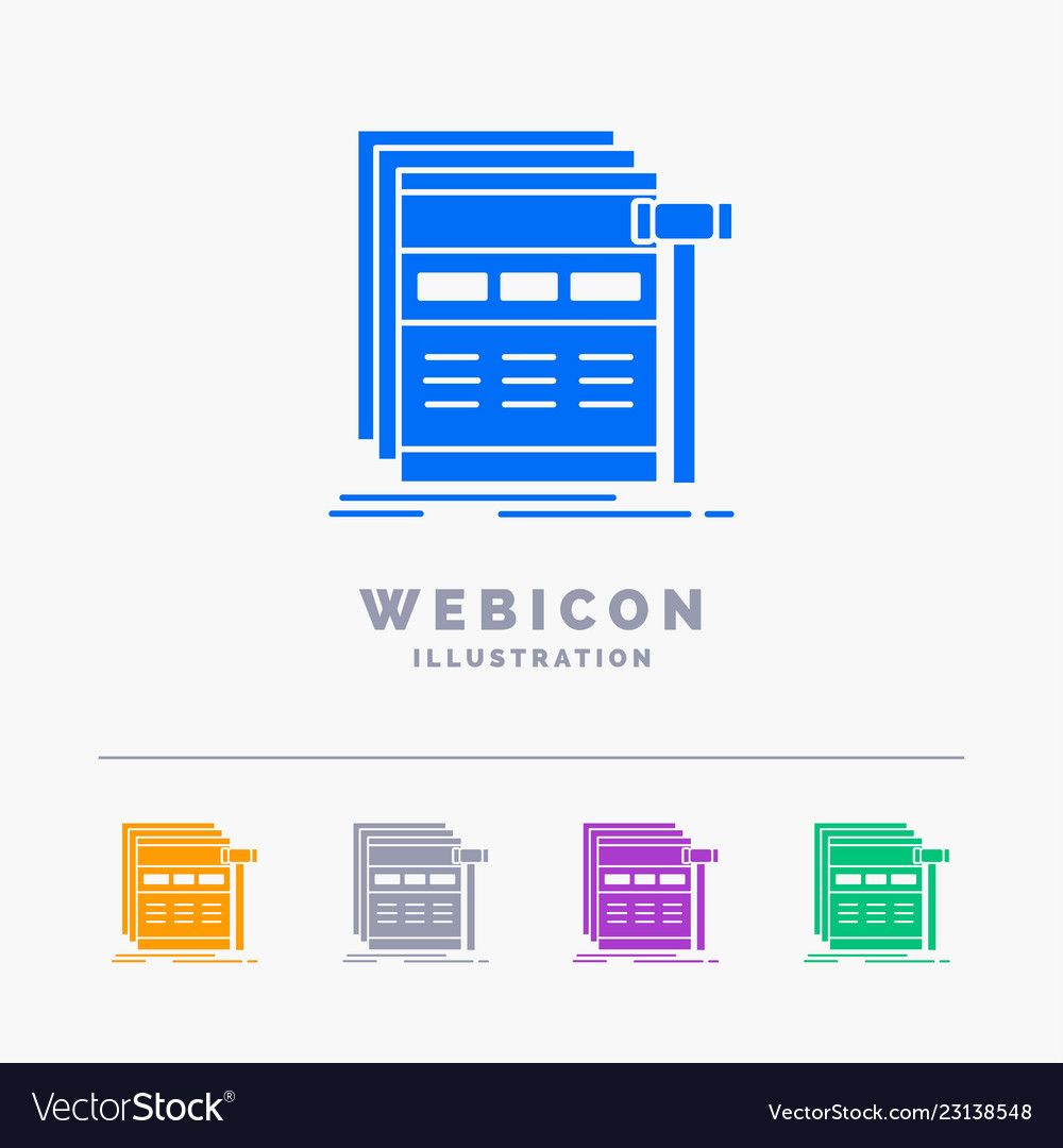 Internet page web webpage wireframe 5 color glyph