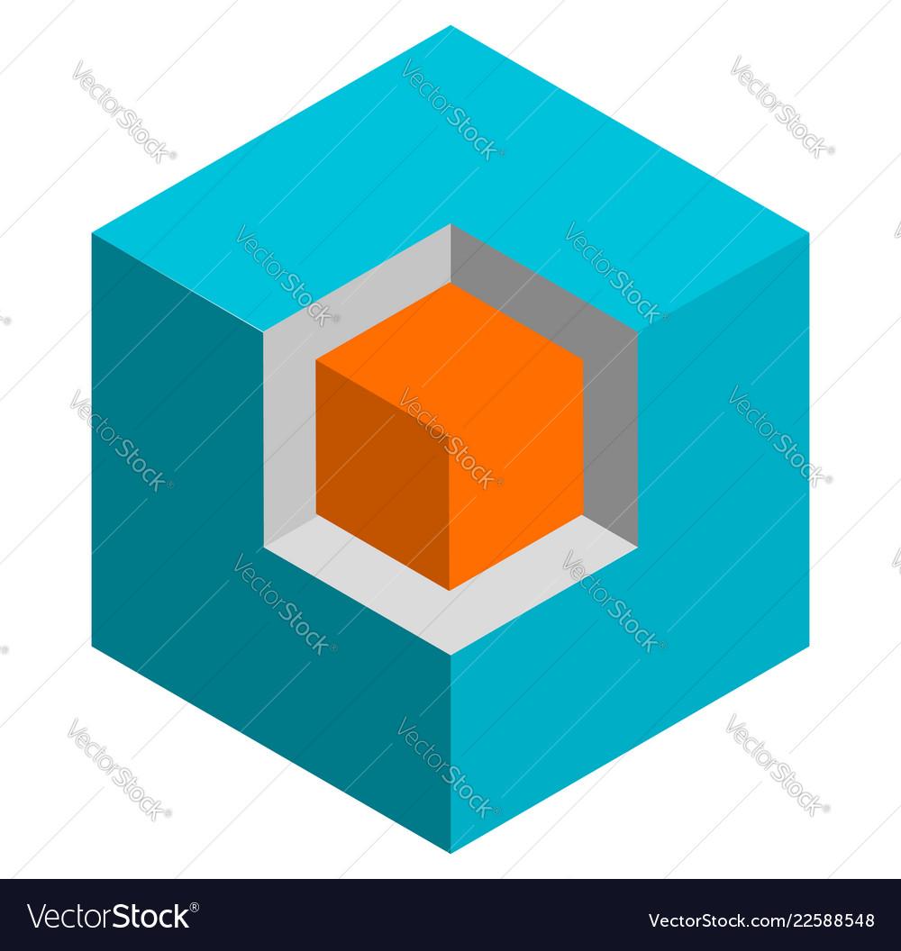 Isometric 3d duotone conceptual cube icon