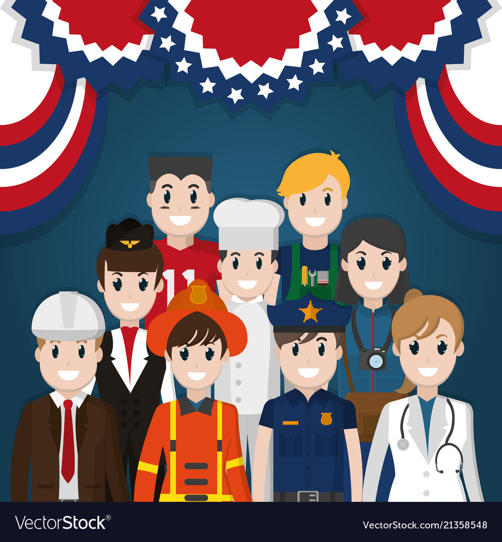 Labor Day Workers Cartoon Royalty Free Vector Image