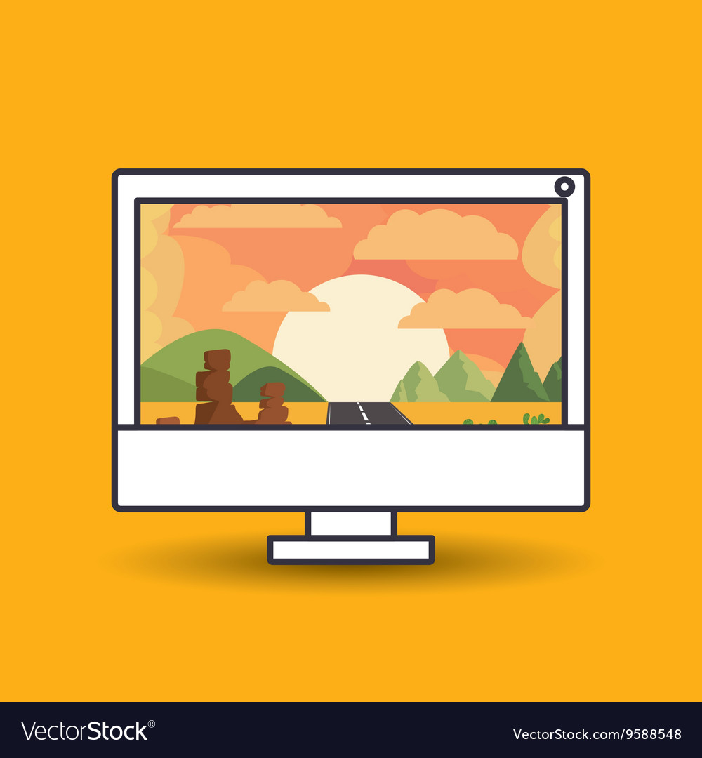 Landscape Wallpaper For Computer Design Royalty Free Vector