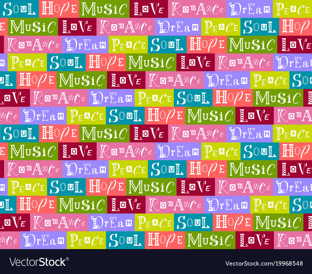 Seamless pattern collage with words vector image