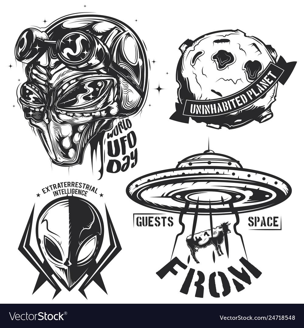 Set ufo elements aliens flying sauce