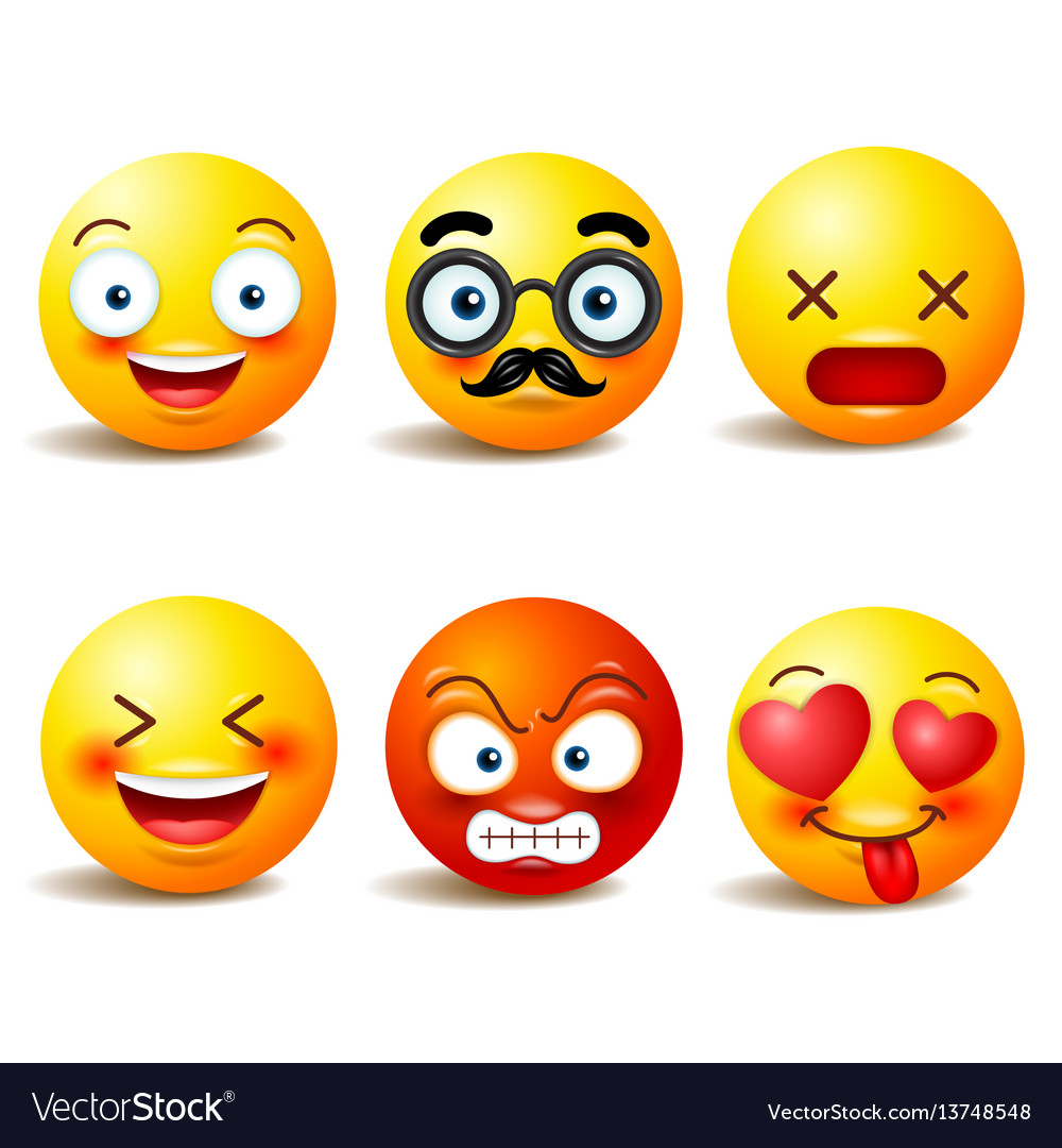 Smiley face icons or yellow emoticons