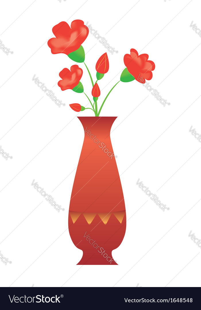 Tall Vase With Red Flowers Royalty Free Vector Image