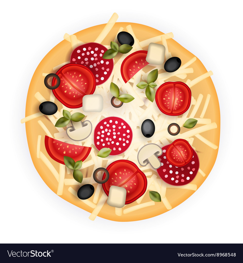 Tasty Pizza on Wood Texture vector image