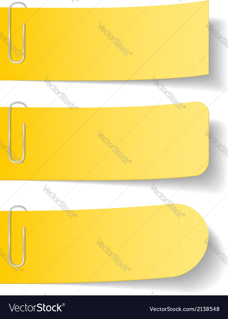 Yellow Paper Notes with Clips vector image