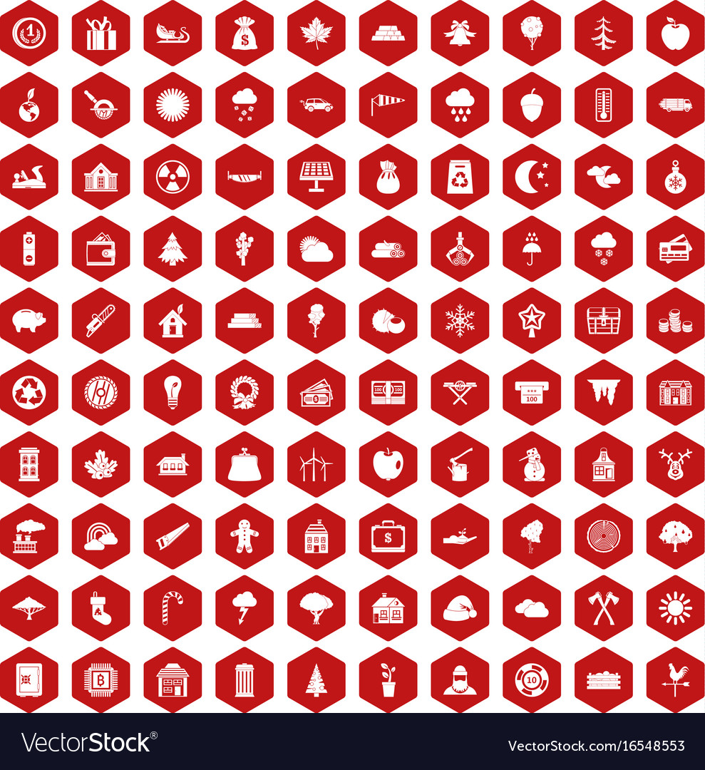 100 lumberjack icons hexagon red
