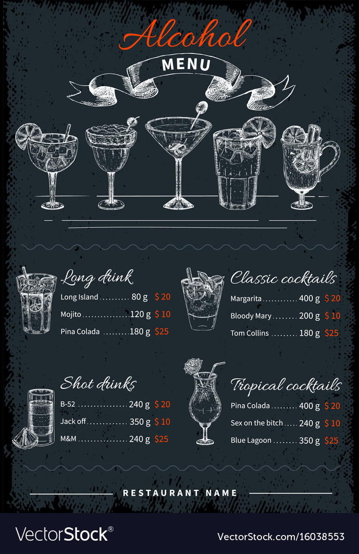 Alcoholic drinks and cocktails menu