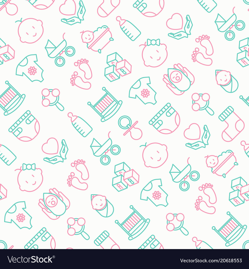 Bacare seamless pattern with thin line icons