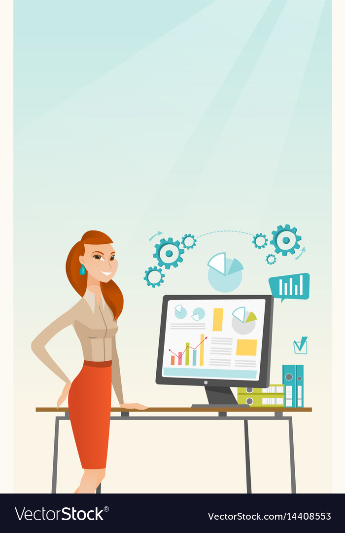 Business woman making presentation on computer
