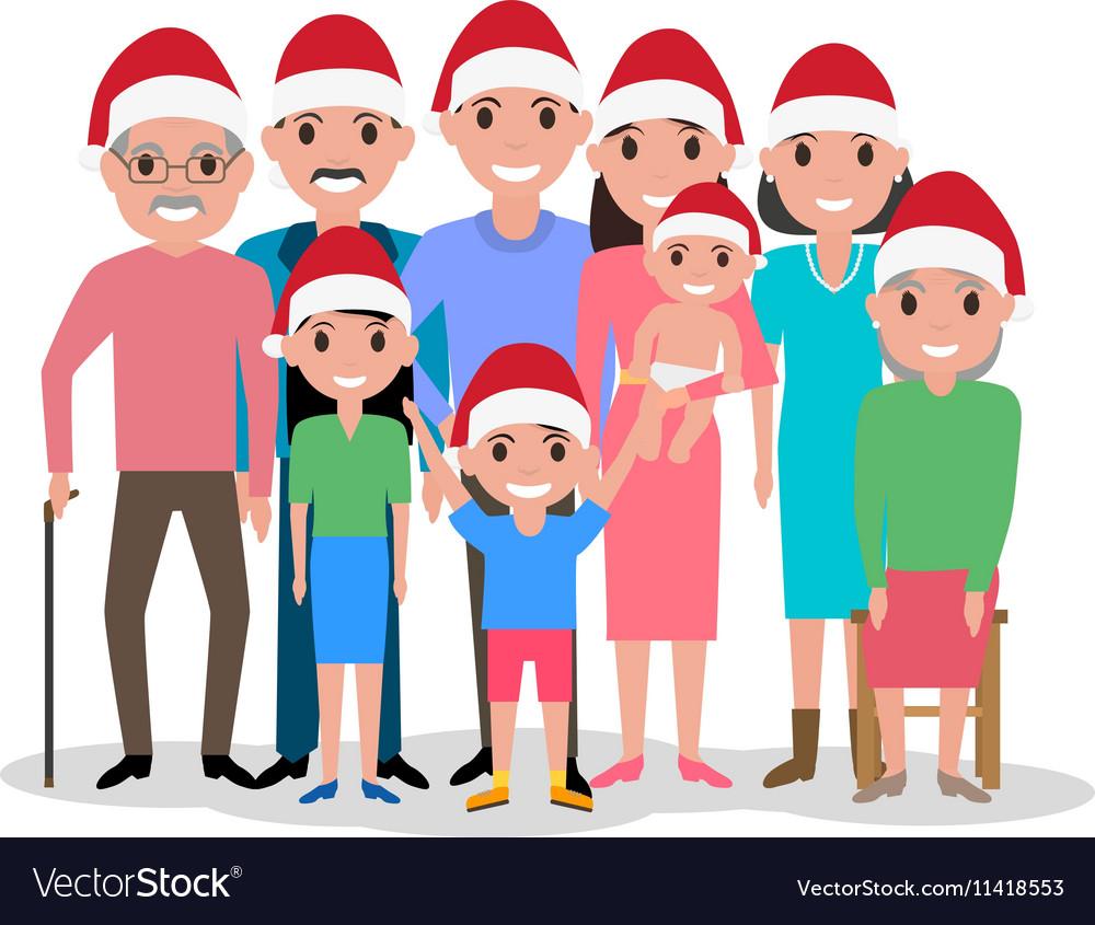 Cartoon happy family in cap of Santa Claus