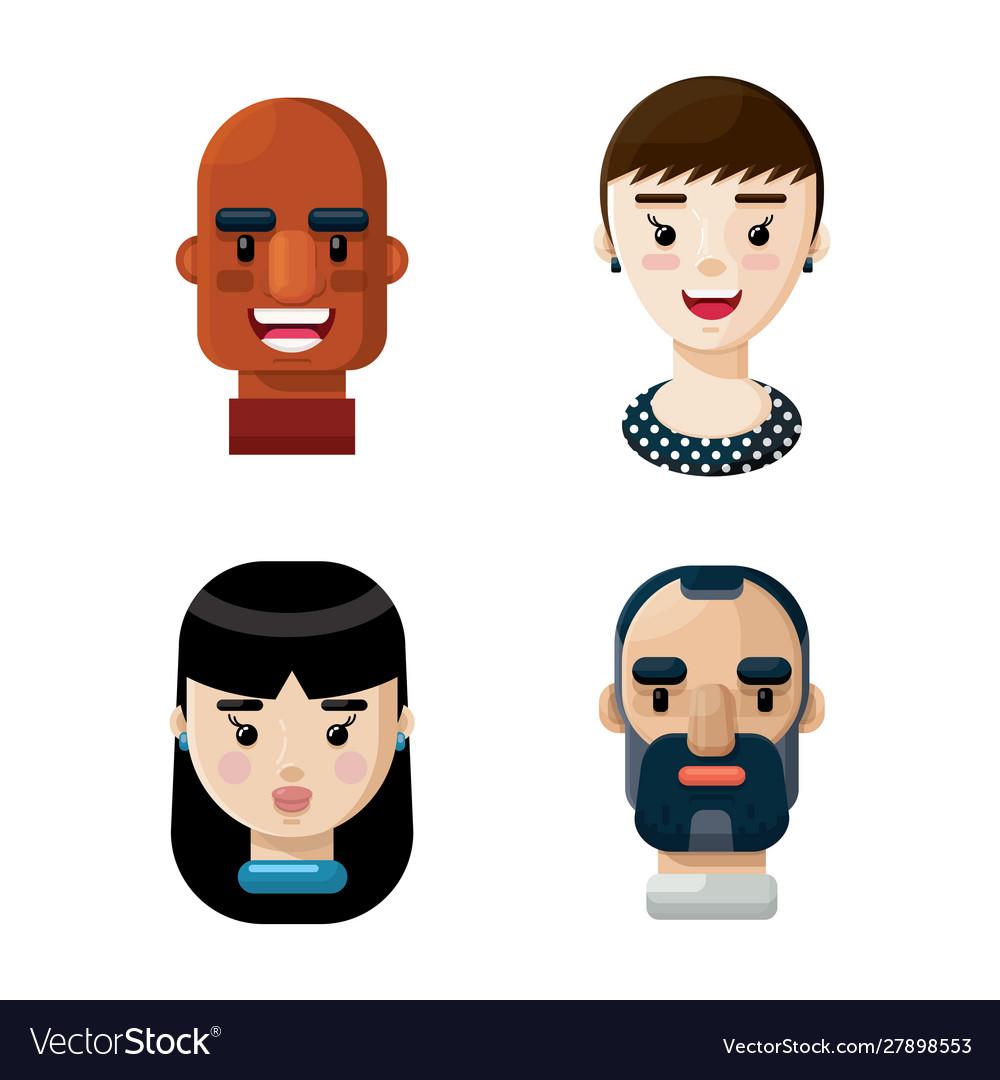 Different people avatars cartoon icon set