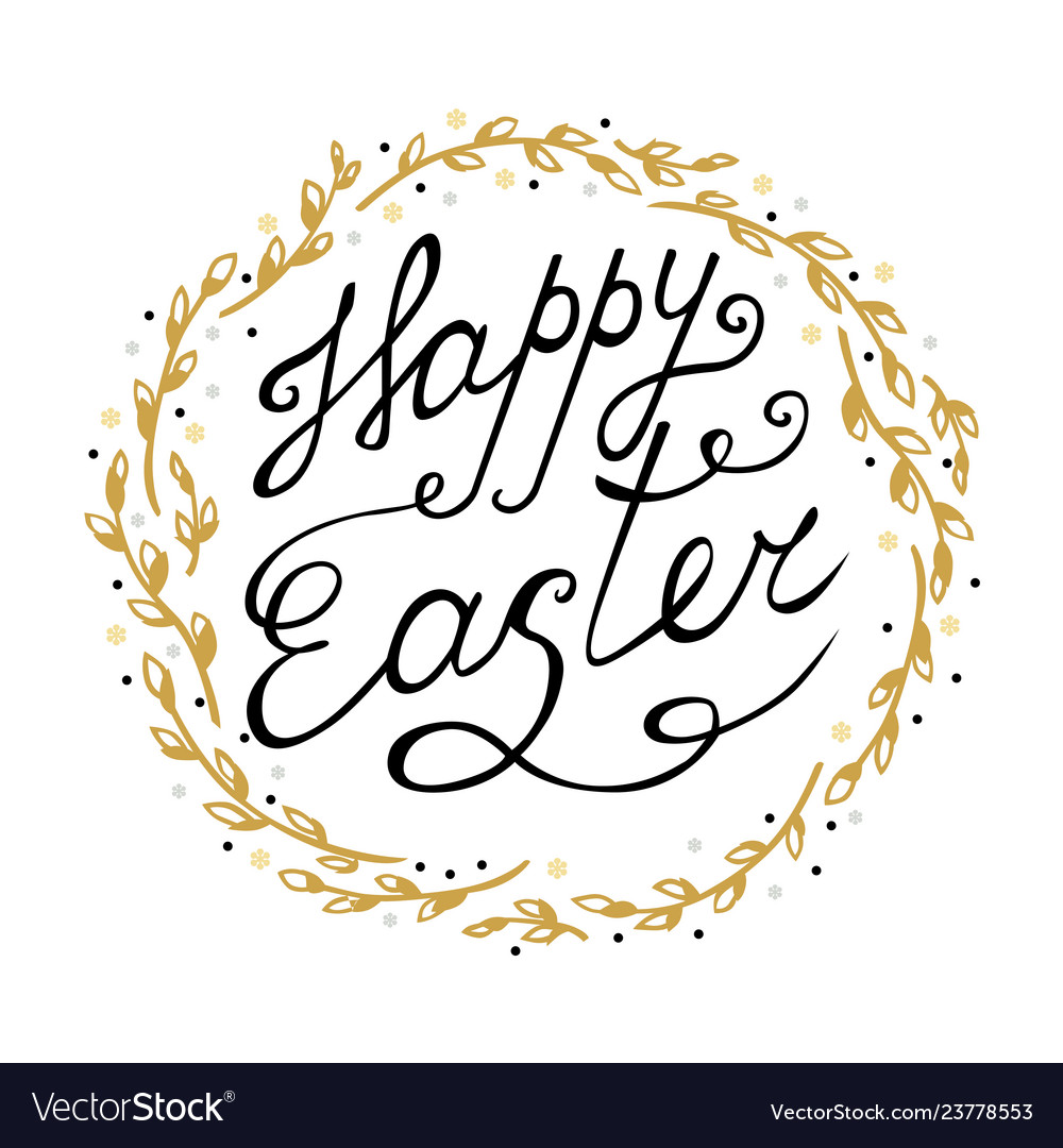 Easter greeting card with decorative willow wreath