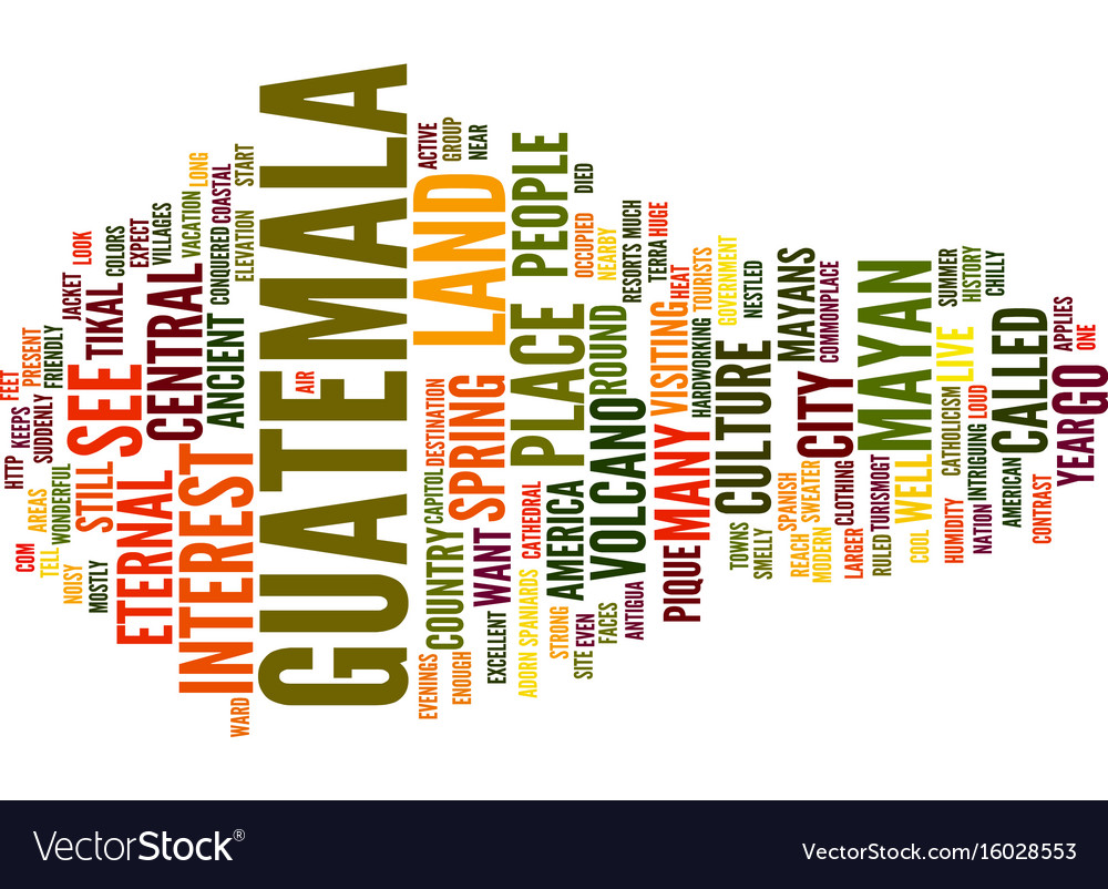 Go to guatemala text background word cloud concept vector image