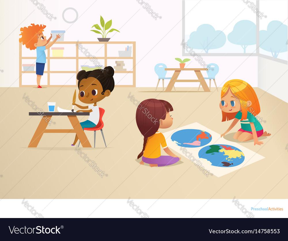 Multiracial children in montessori classroom vector image