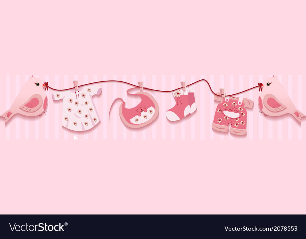 Pink Girl Birds Laundry Rope Baby Cloth Card
