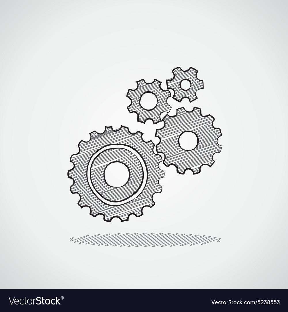 Sketched gears vector image