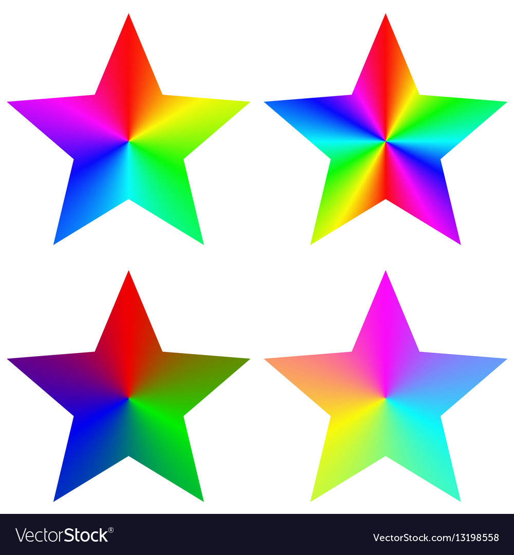 Abstract isolated gradient rainbow star set