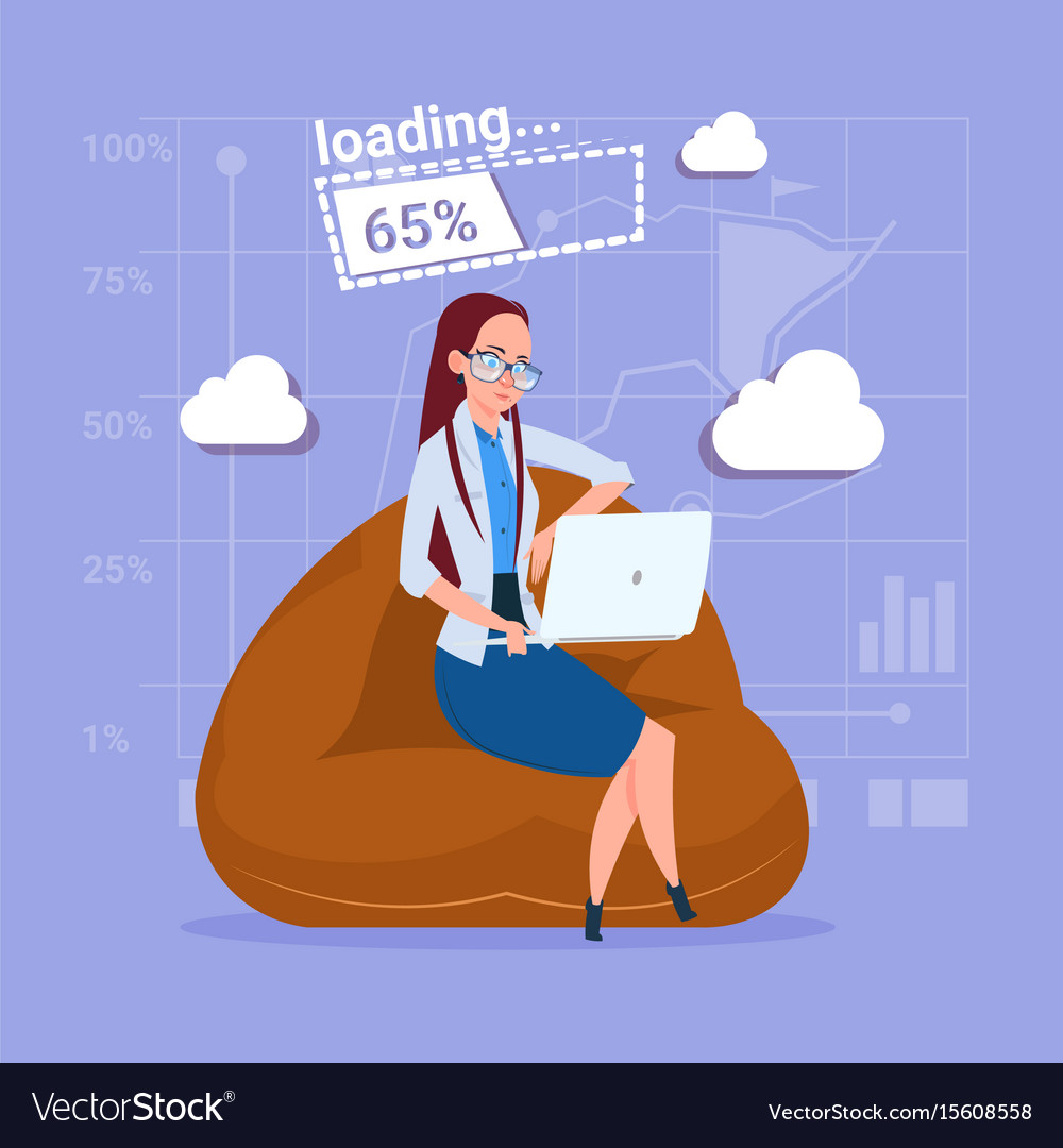 Business woman use laptop computer loading