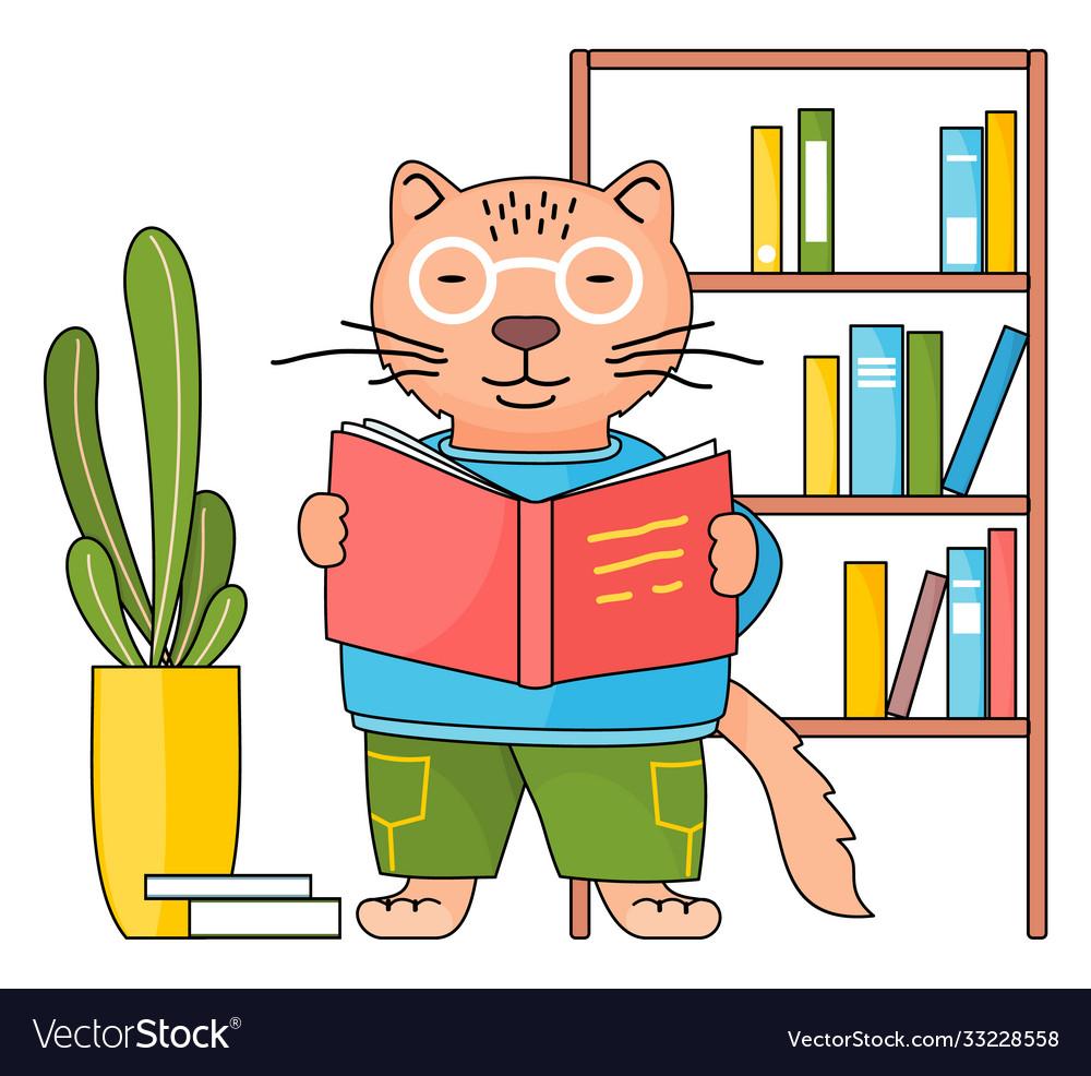 Cartoon Animal Student Or Teacher Smart Cat In Vector Image