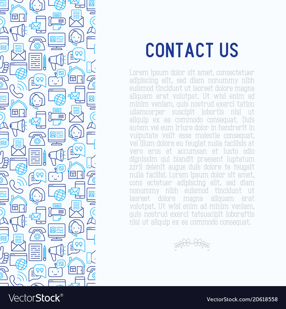 Contact us concept with thin line icons