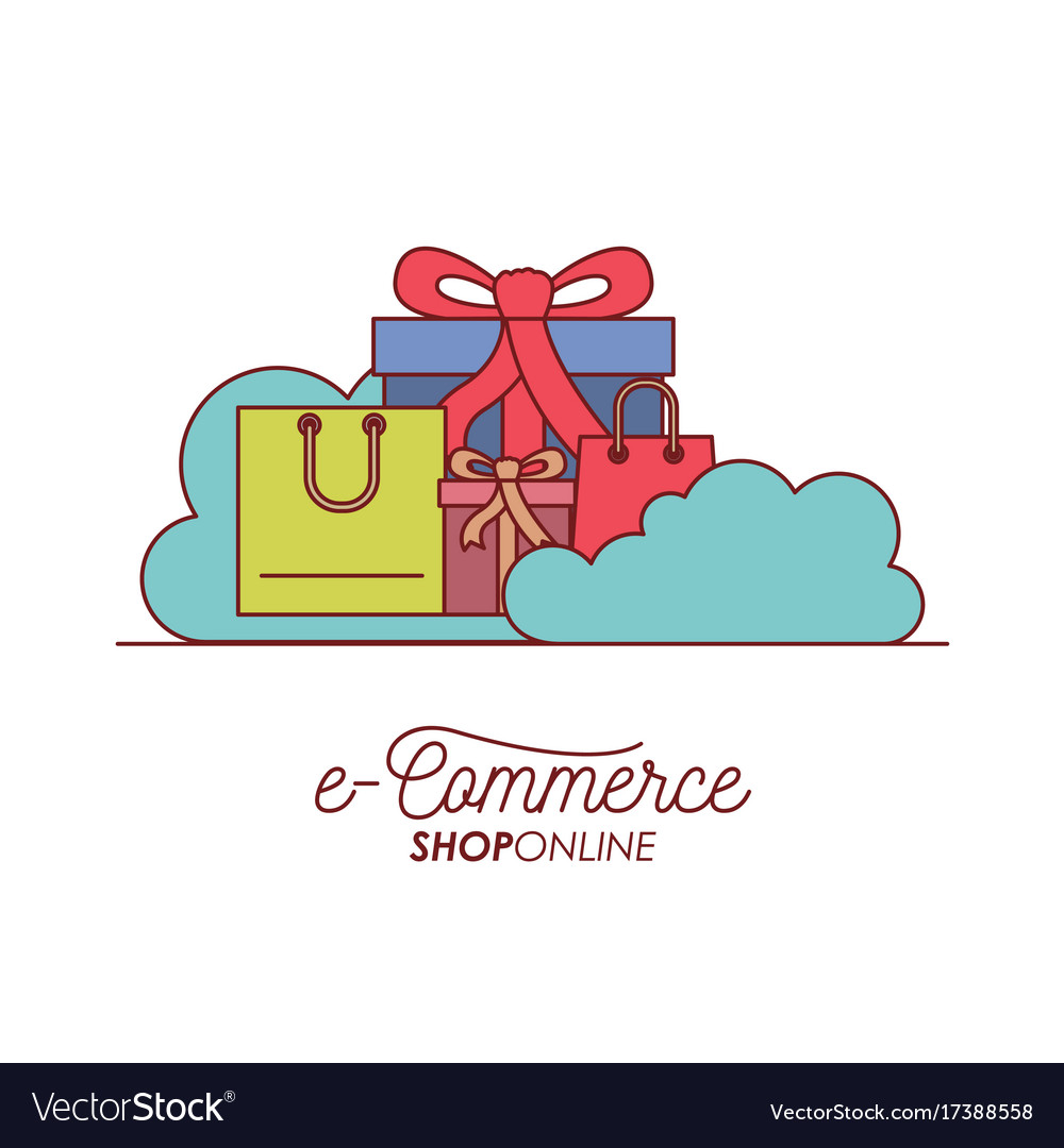 E-commerce shop online set gift and shopping bag