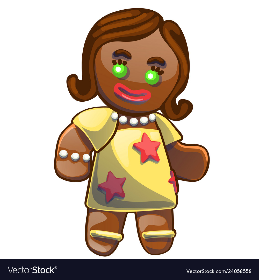 Gingerbread man decorated colored icing isolated