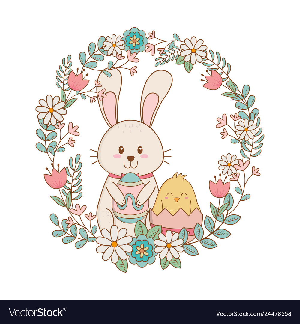 Little rabbit and chick with egg painted in floral