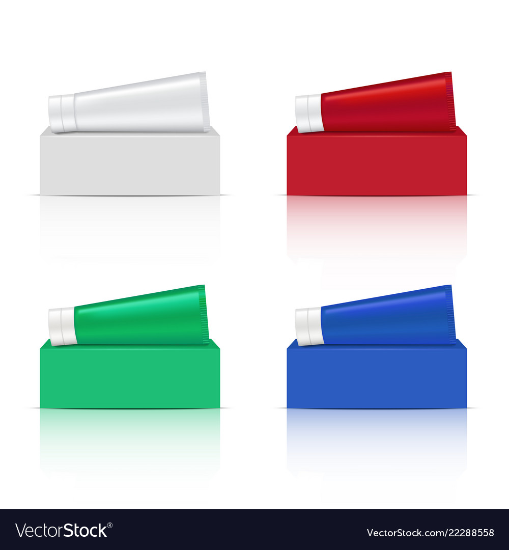 Mock Up Realistic Tube And Box For Toothpaste Vector Image