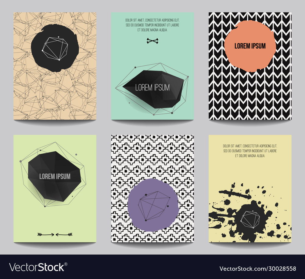 Set modern posters with geometrical shapes and