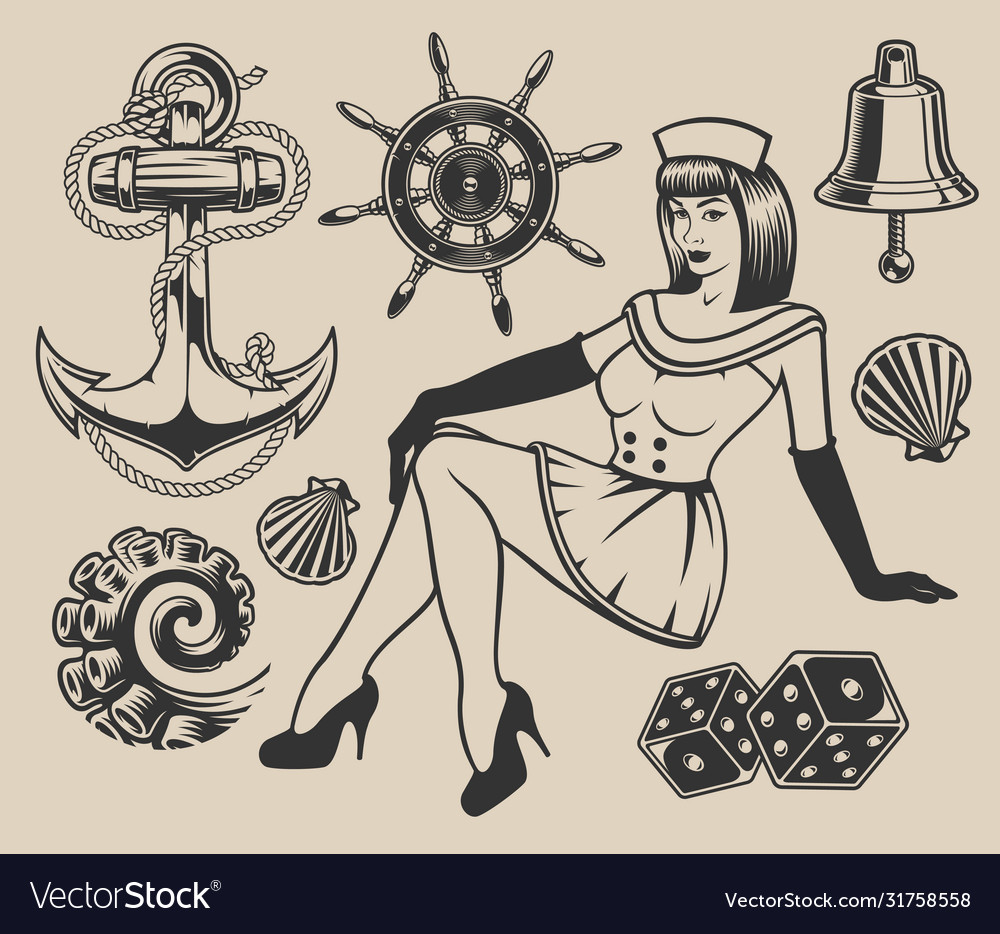 Set with pin-up girl and elements for design