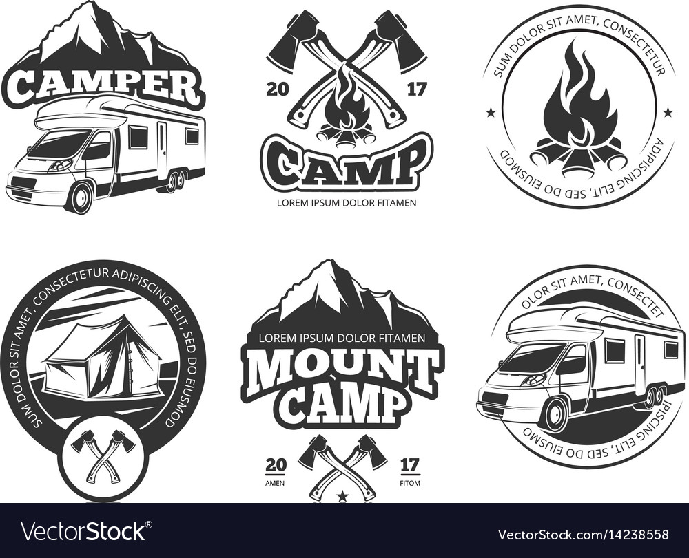 Vintage labels set with camper near