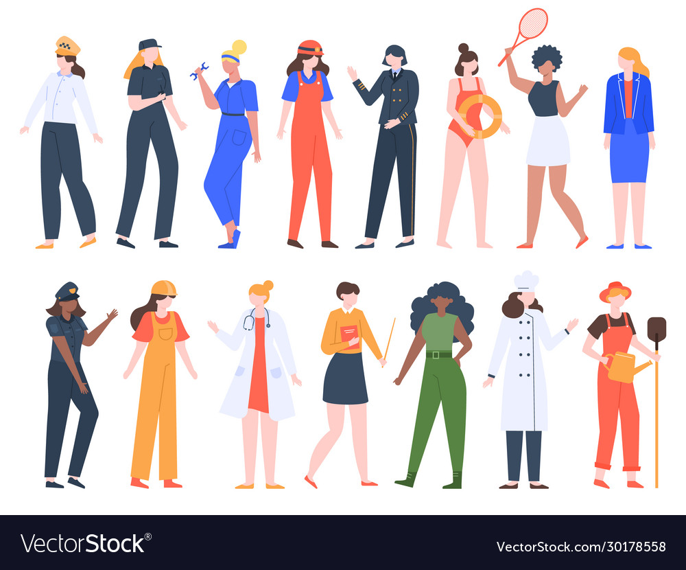 Women job professions female workers lady