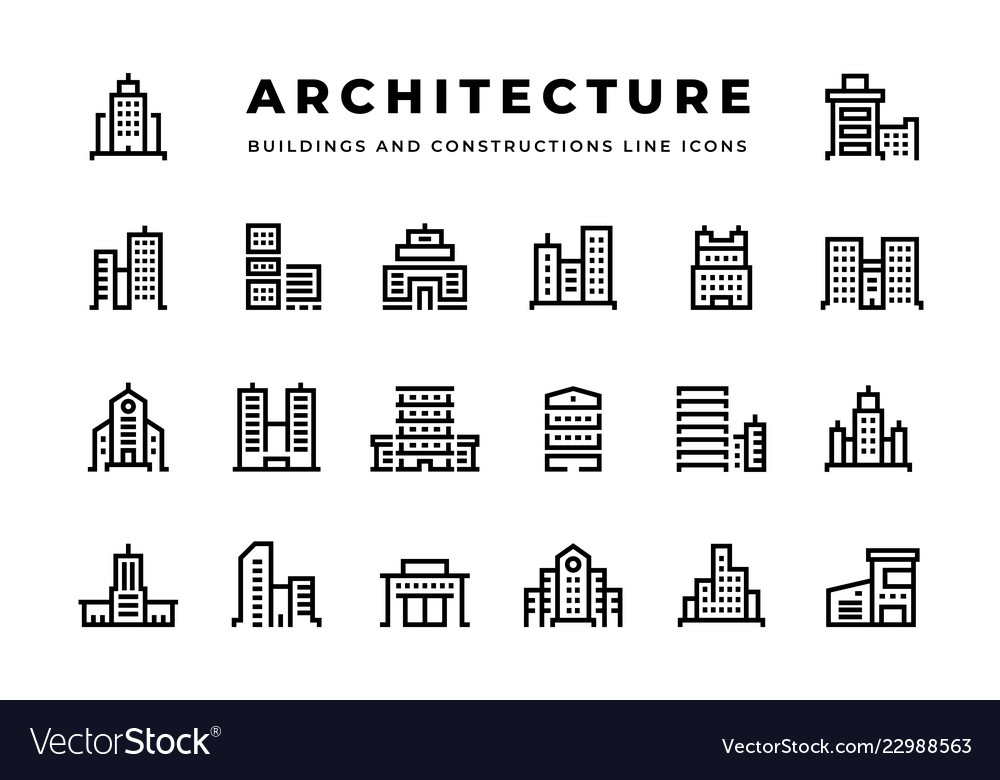 Building line icons cityscape with skyscrapers