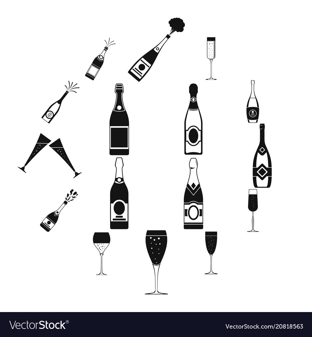 Champagne bottle glass icons set simple style
