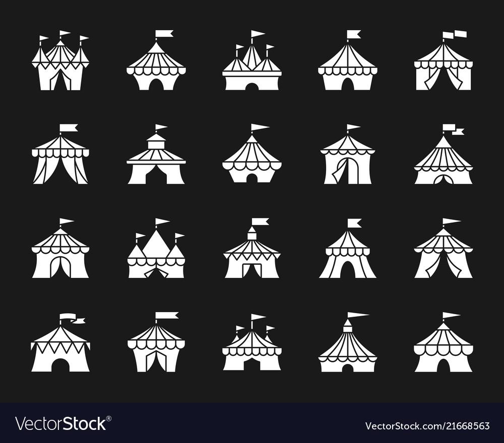 Circus tent white silhouette icons set