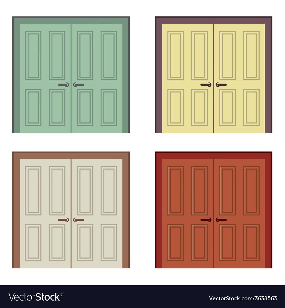 Flat Design Wooden Double Doors