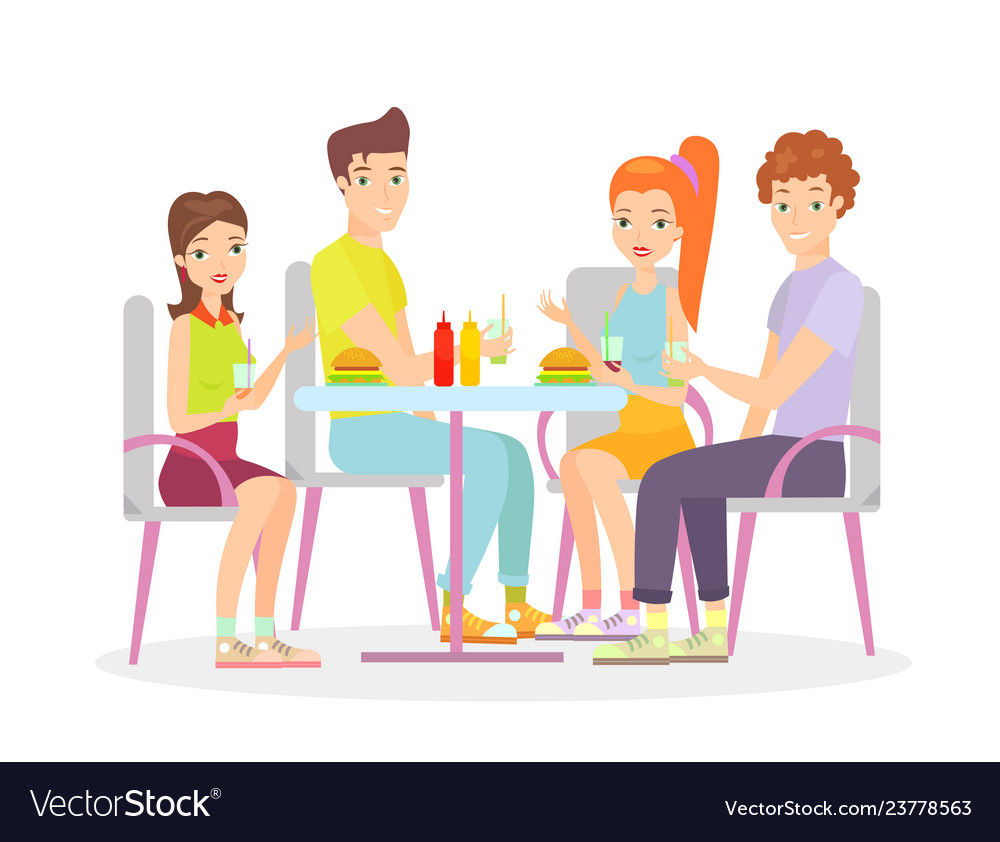 Happy friends are sitting vector