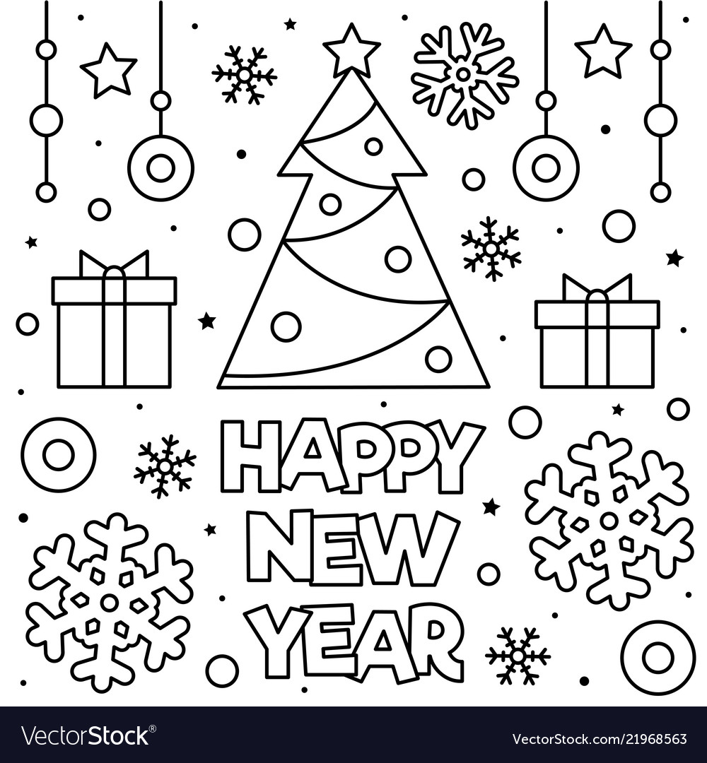 Happy new year coloring page Royalty Free Vector Image