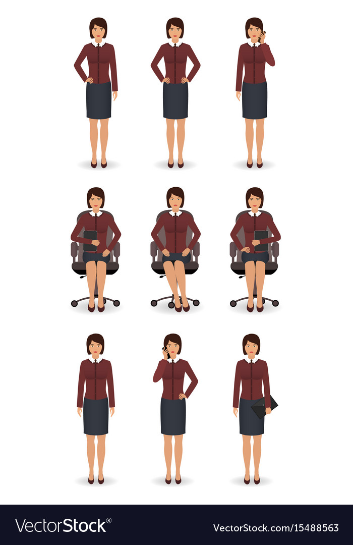 Office employee in different poses isolated on a