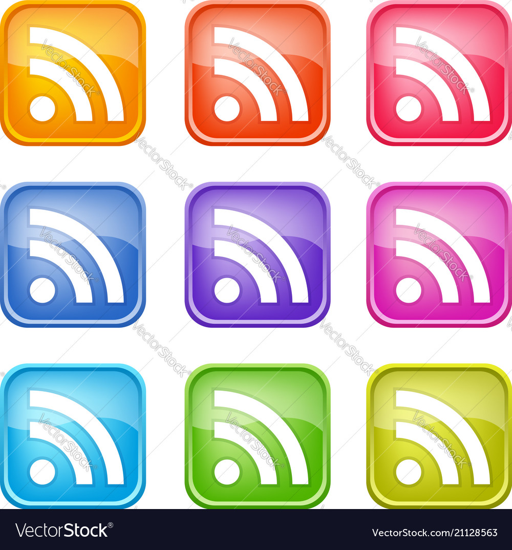 Set of colorful rss icons