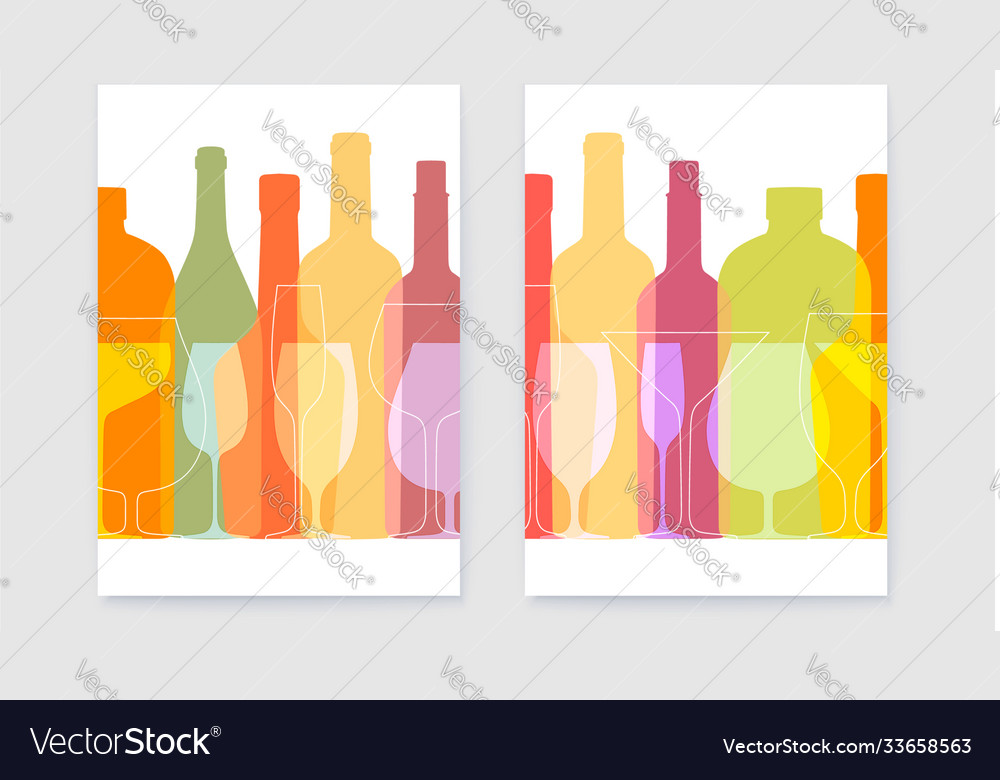 Set posters with outline wine bottles and